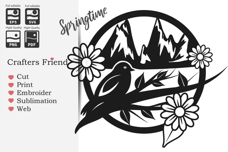 Spring in the Mountains - Cut File for Crafter example image 1