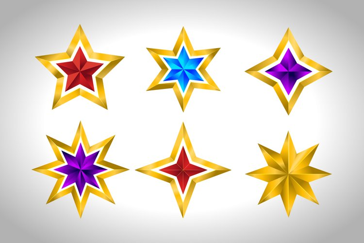Set of vector Christmas golden colorful stars