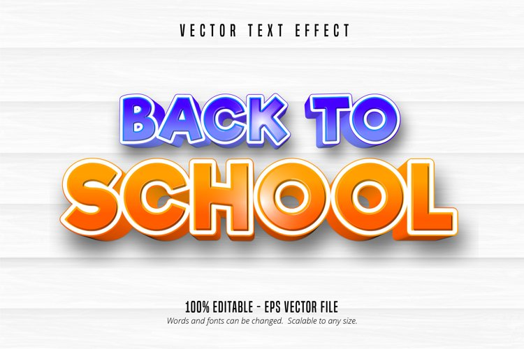 Back to school text, comic style editable text effect example image 1