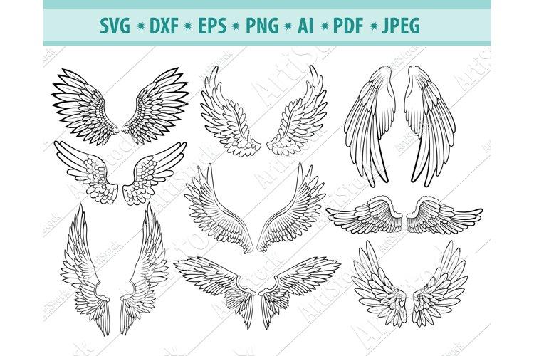 Wings Svg, Angel Wings svg, Heaven Svg, Angel Dxf, Png, Eps