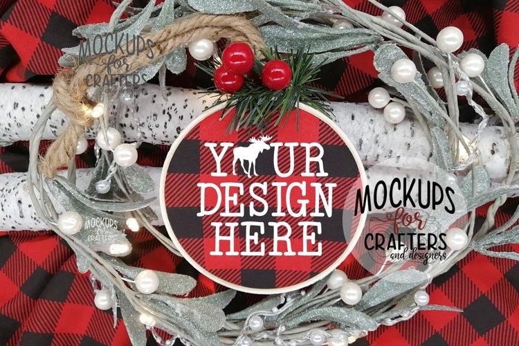 Embroidery Hoop Ornament, Buffalo Plaid fabric, Christmas