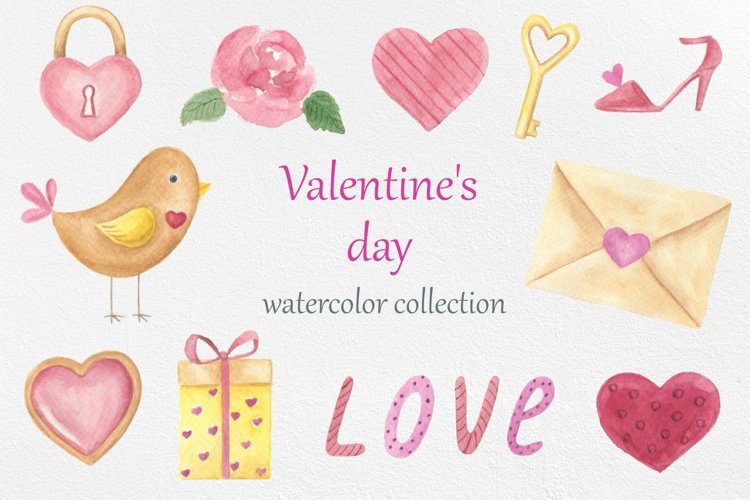 Valentines day. Watercolor clipart