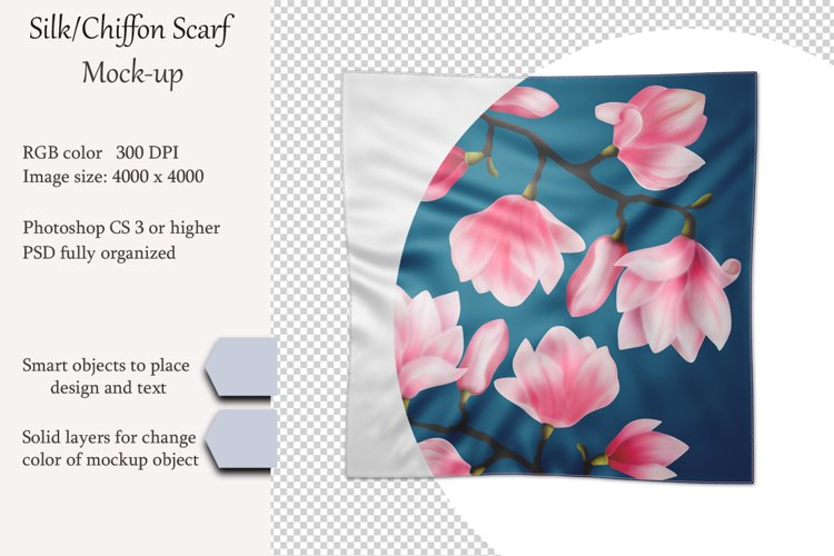 Silk, chiffon scarf mockup. PSD object mockup. Top view. example image 1