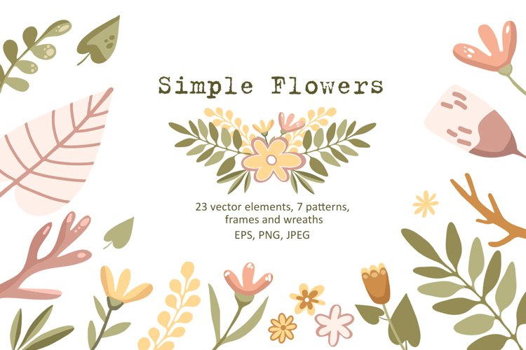 Simple Flowers - Vector Clip Art Set example image 1