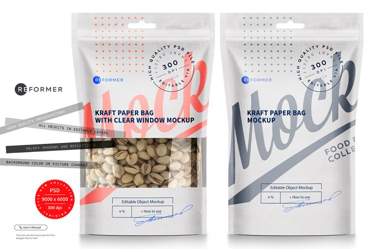 Paper Bag Stand up Pouch Doypack with Clear Window Mockup