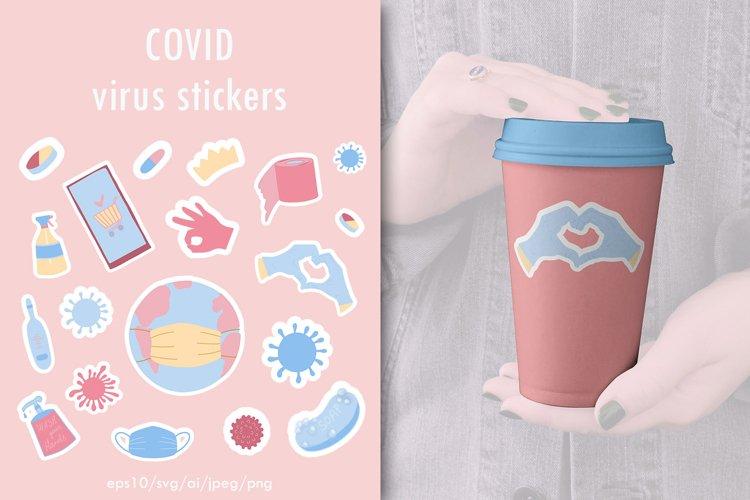Covid virus stickers. Coronavirus badges, stickers coronavir example image 1