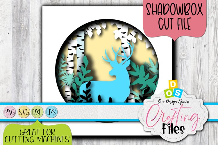 Christmas Deer Shadow Box Square SVG, DXF and EPS file