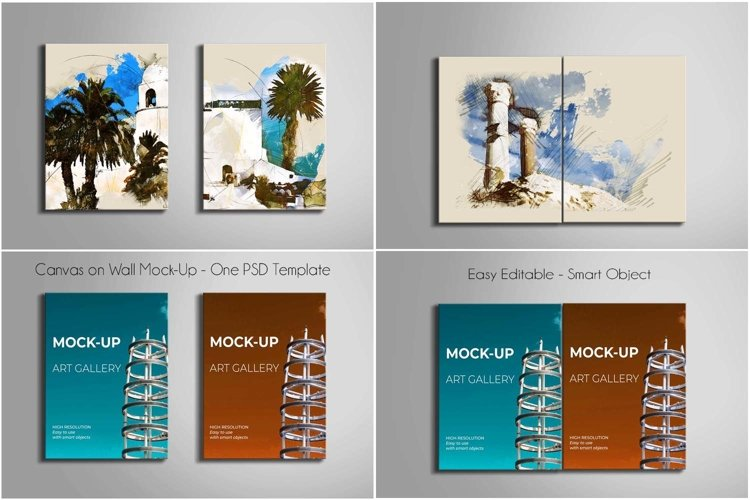 Canvas on Wall Mock-Up | One PSD Template example 3