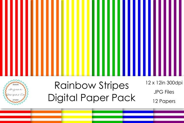 Rainbow Stripes Digital Paper Pack example image 1