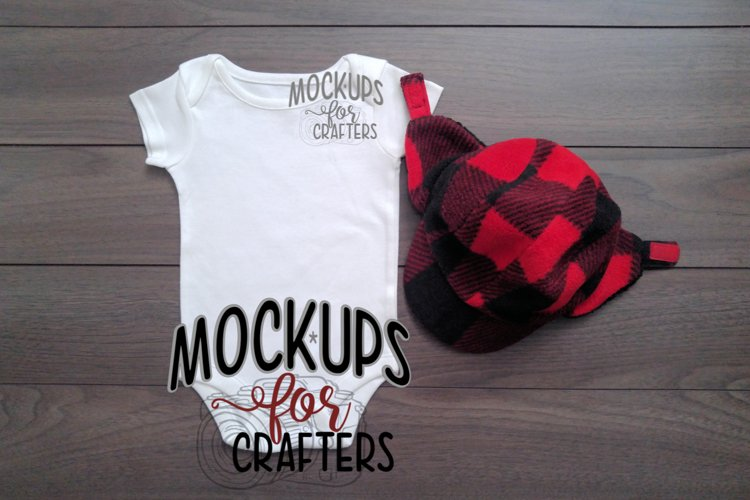 White one-piece baby outfit, onesie, MOCK-UP example image 1