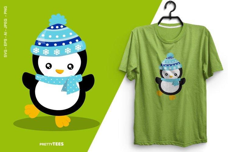 Baby Penguin Blue Scarf T-Shirt Design | Sublimation T-Shirt example image 1