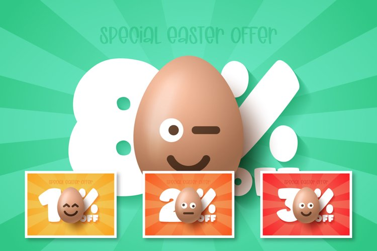 Easter discount banner set with emoji egg