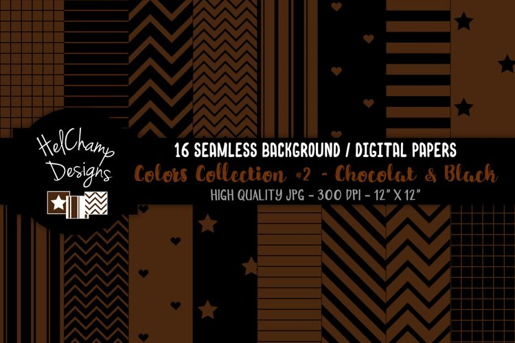 16 seamless Digital Papers - Chocolat and Black - HC152 example image 1