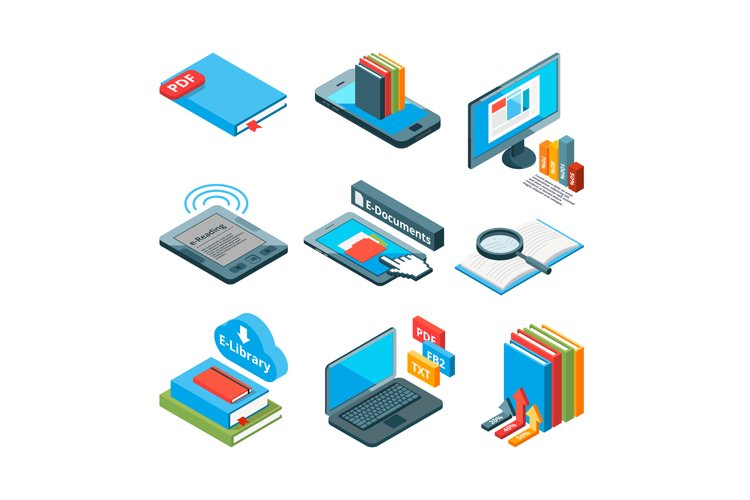 Isometric icons of electronic books and other gadgets for re example image 1