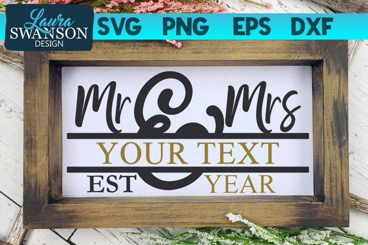 Mr and Mrs Split Monogram SVG | Wedding SVG | Marriage SVG