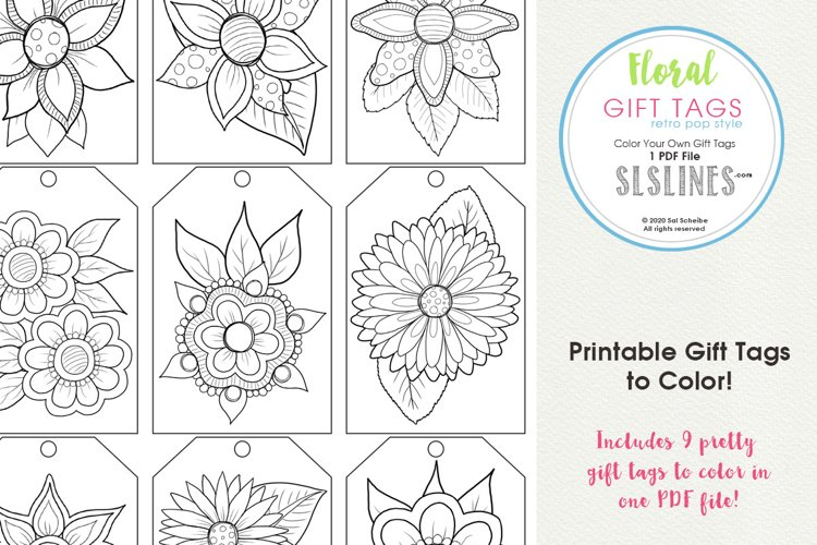 Retro Pop Flower Gift Tags to Color, Set of 9 example image 1