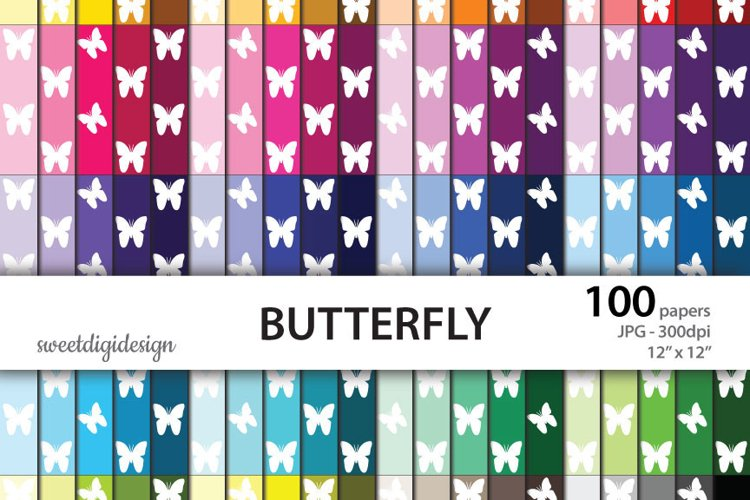 Seamless butterflies rainbow background example image 1