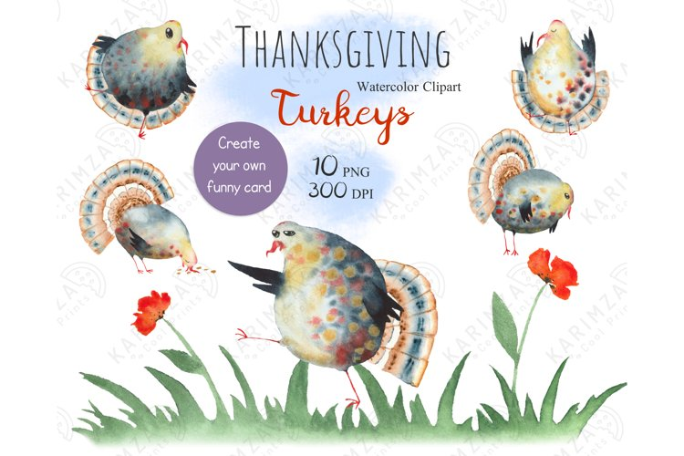 Watercolor Thanksgiving Turkey Planner Clipart