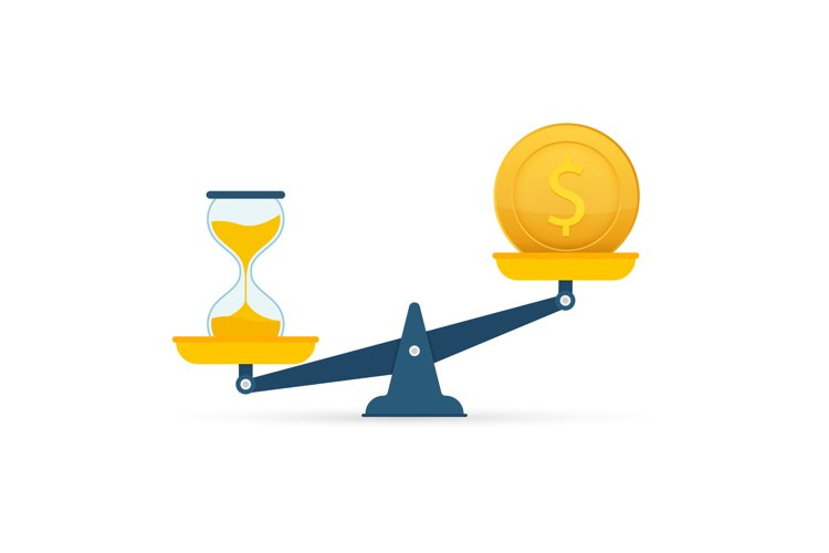 Time is money on scales icon. Money and time balance on scal example image 1