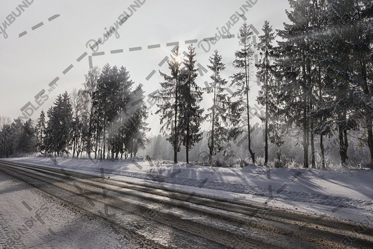 slippery winter road sun. example image 1