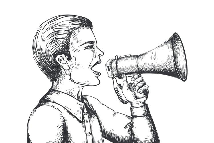 Megaphone sketch. Hand drawn loudspeaker engraving illustrat example image 1