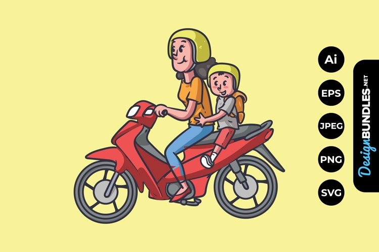 Mom and Son Riding Motorcycle Illustrations