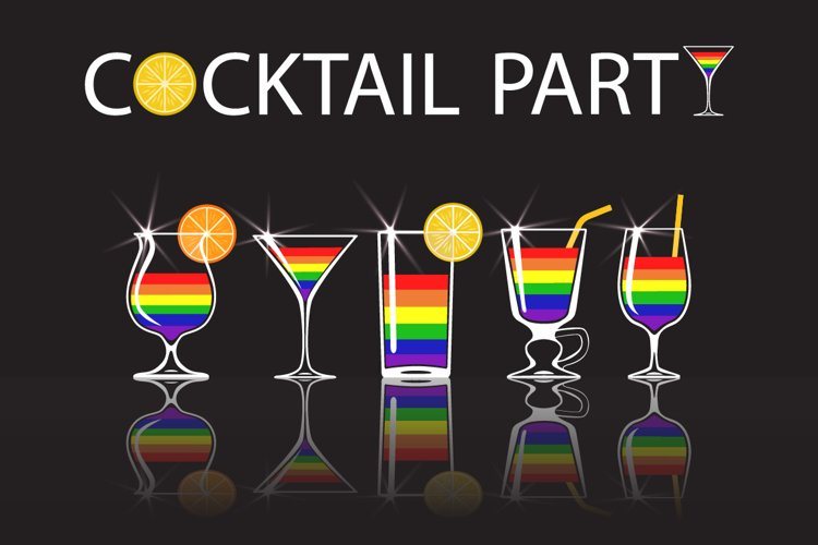 LGBT clipart Set of cocktails with colors of LGBT flag