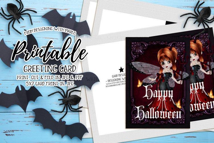 Ladybug Devil - Printable Happy Halloween Card example image 1