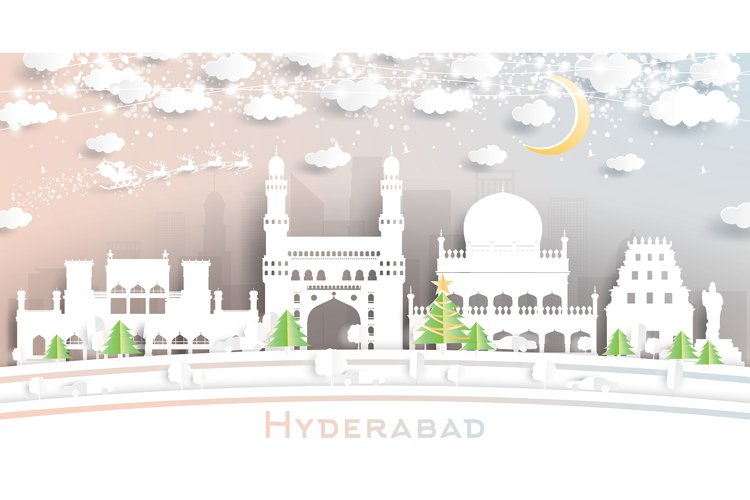 Hyderabad India City Skyline in Paper Cut Style example image 1