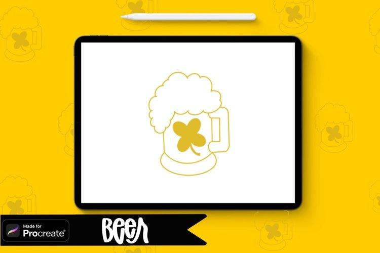 Beer Procreate Stamp Brush / St. Patricks Day St example image 1