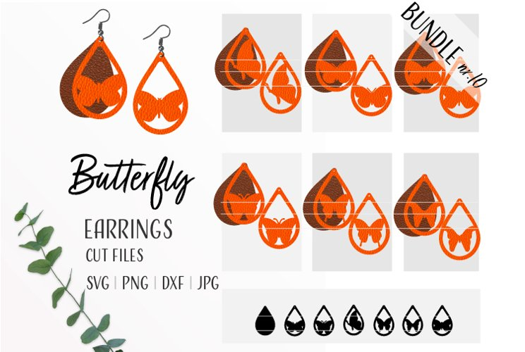 Butterfly Earrings Bundle Svg / Leather / Faux / Wood example image 1