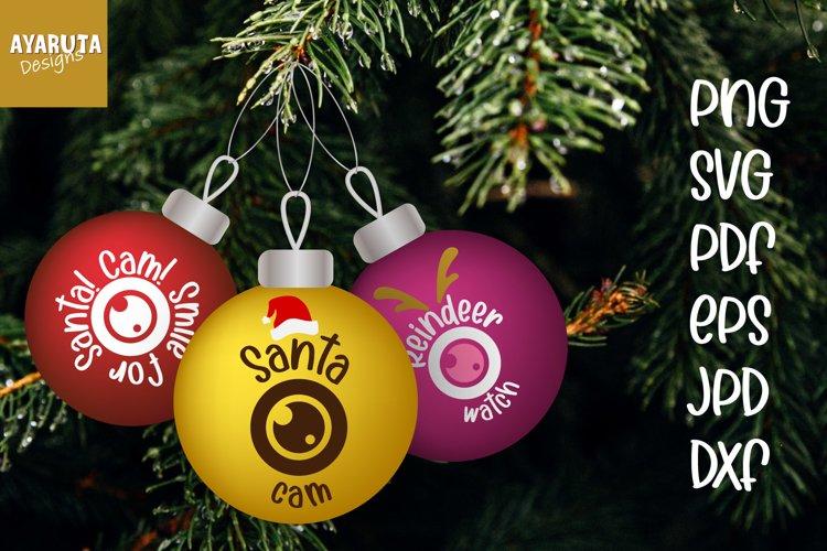 Santa Cam Ornament, Elf Cam Christmas ball SVG PNG Cut file example image 1