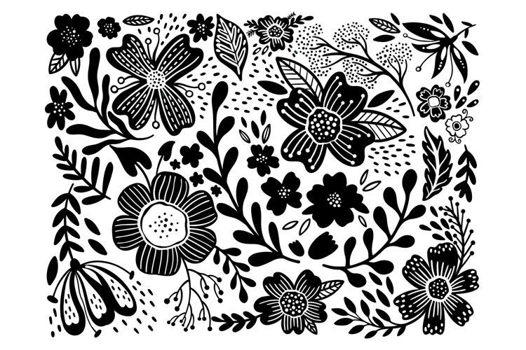 Set flower ethno black in white background