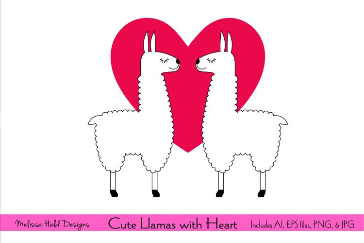 Cute Llamas with Red Heart example image 1