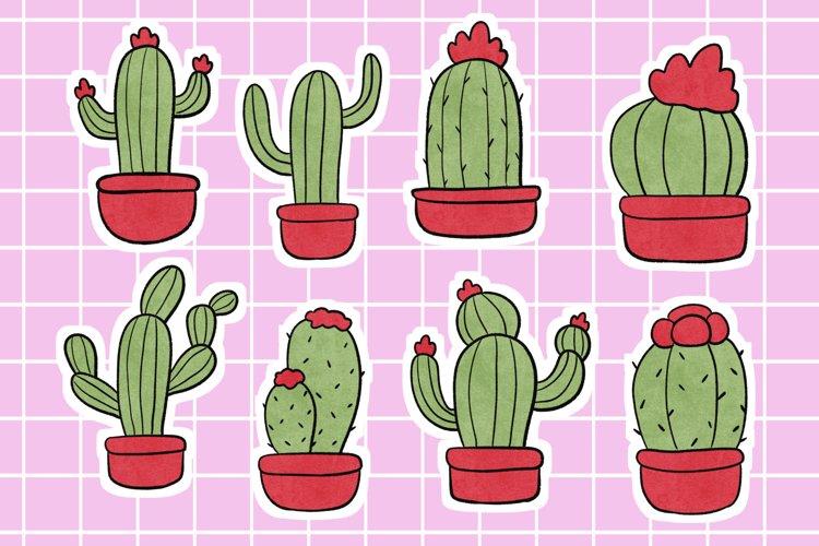 Cute Cactus Stickers Scrapbook Supplies Digital Download example image 1