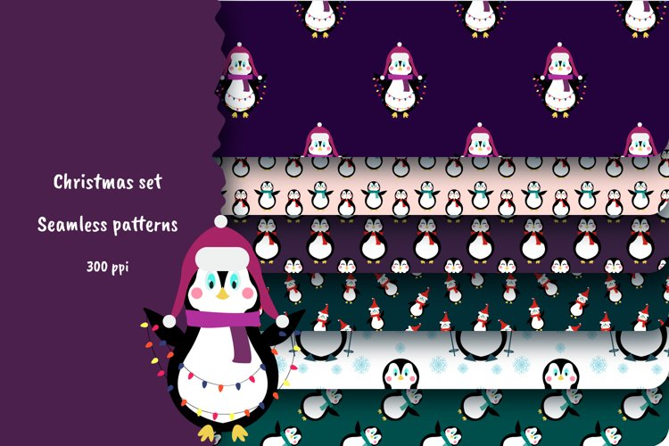 Set of 6 seamless patterns with penguins example image 1