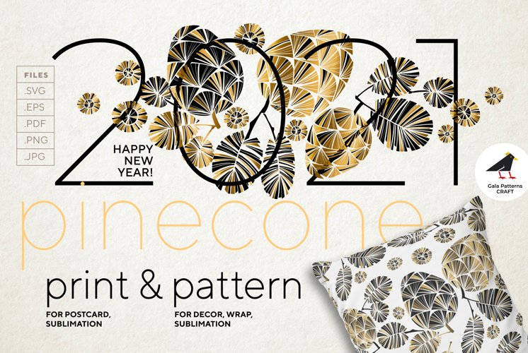 Christmas & 2021 New Year pine cone print in black & gold