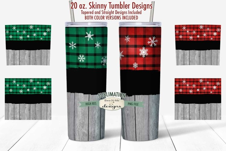 Tumbler Sublimation 20 oz Wrap | Red Green Flannel Snowflake