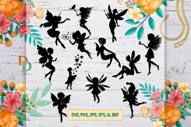 Fairy Silhouette SVG,Fairy Digital Images,PNG,DFX,EPS,JPG,AI example image 1