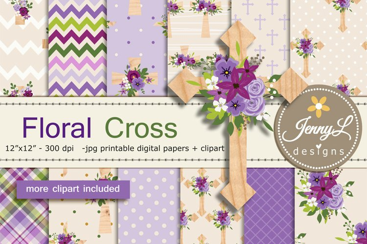Floral Wooden Cross Digital Papers and Clipart