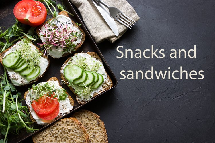 Delicious snacks and sandwiches