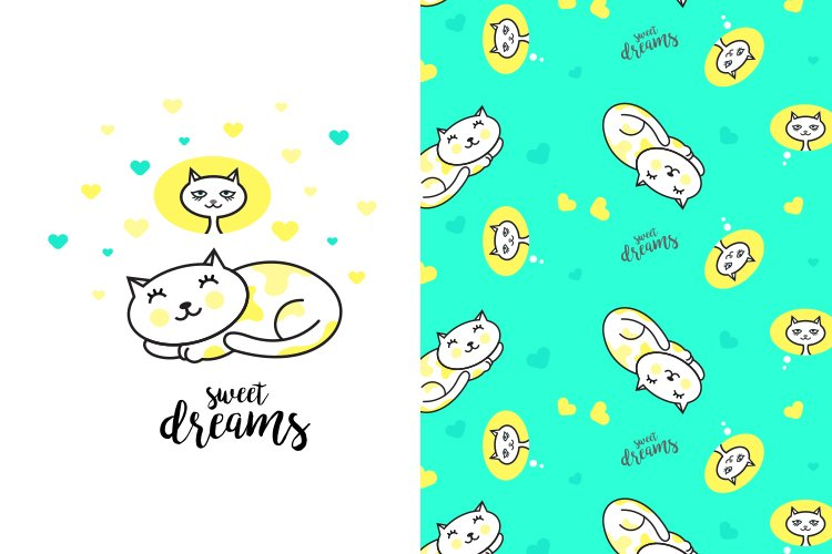 Cute sleeping cat illustration with pattern example image 1