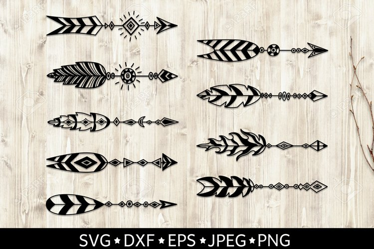 Set of arrows with feathers. Boho style. SVG cut files. DXF. example image 1