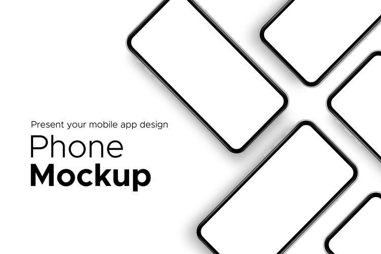 Mobile app design phone showcase mockup with space for text example image 1