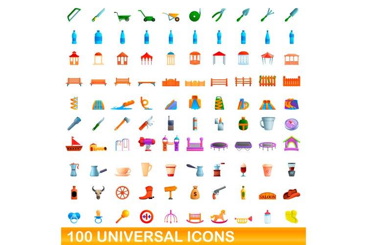 100 Universal Icons Set Cartoon Style 651312 Illustrations Design Bundles