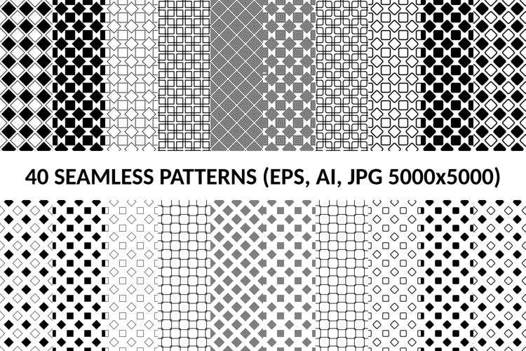 40 Seamless Square Patterns AI, EPS, JPG 5000x5000