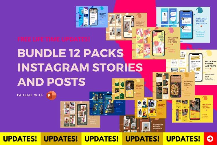 Updates! Bundle 12 packs instagram stories & posts powerpoin example image 1