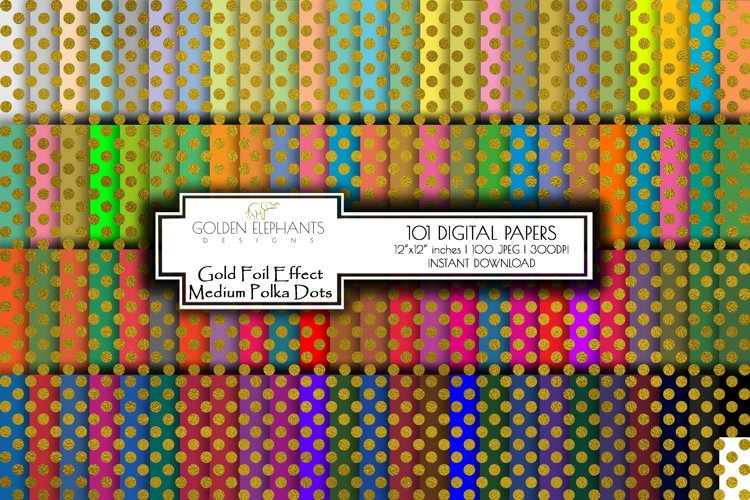 100 Gold Foil Effect Medium Polka Dot Digital Paper, Seamle example image 1
