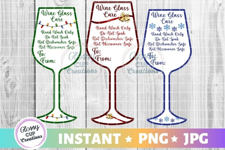 Wine Glass Holiday Care Card Pack, PNG, Print and Cut example image 1