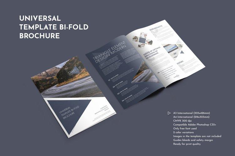 Modern Design Bi-Fold Brochure With Triangular Elements